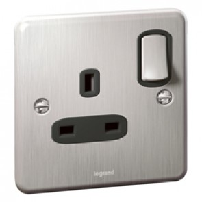 Double pole British standard Synergy -1 gang switched -13 A -250 V~ - Authentic brushed stainless steel