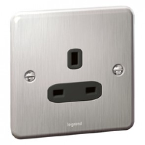 British standard Synergy -1 gang unswitched -13 A -250 V~ - Authentic brushed stainless steel