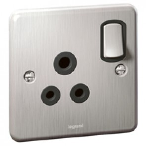 British standard Synergy -1 gang switch -single P -5 A -250 V~ -Authentic brushed stainless steel