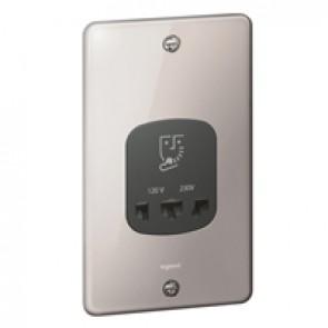Shaver socket Synergy -230/120 V~ -50/60 Hz -Authentic polish stain steel