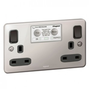 British standard RCD Synergy -ELO Double pole 30 mA 2 gang -13 A -250 V~ -Authentic polished stainless steel