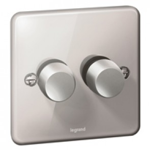 Rotary dimmer Synergy - 2 gang - 2 way - 400 W- Authentic polished stainless steel