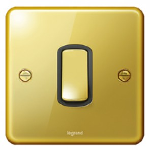 Plate switch Synergy - 1 gang - 1 way - 10 AX 250 V~ - Authentic glossy gold