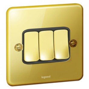 Plate switch Synergy - 3 gang - 2 way - 10 AX 250 V~ - Authentic glossy gold