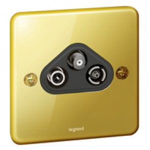 "TV-R-SAT socket Synergy - ""F"" type - Authentic glossy gold"