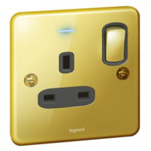 Single Pole British standard Synergy - 1 gang switch+LED - 13 A -250 V~ -Authentic glossy gold