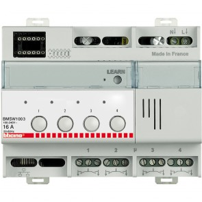 MyHOME_Up DIN on/off lighting controller - 4 outputs 16 A - 6 modules