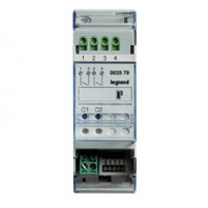 Actuator MyHOME_Up with 2 independent relays for single and double loads - 2 DIN modules