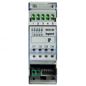 Actuator MyHOME_Up with 4 independent relays single, double and mixed loads - 2 DIN modules