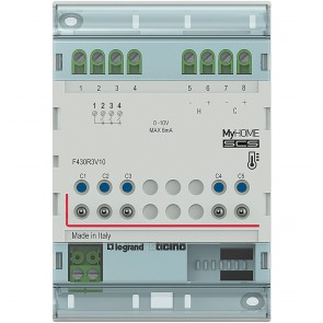 Actuator MyHOME_Up with 3 independent relays and 2 outputs 0-10 V for the control of valves, pumps and fan coils
